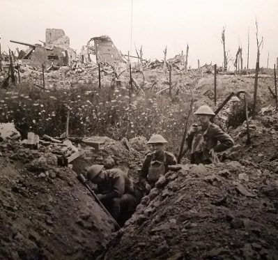 World War One soldiers in trench